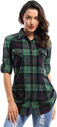 Phorecys - Camisa de cuadros para mujer, manga enrollable, con botones y botones: Amazon.es: Ropa y accesorios
