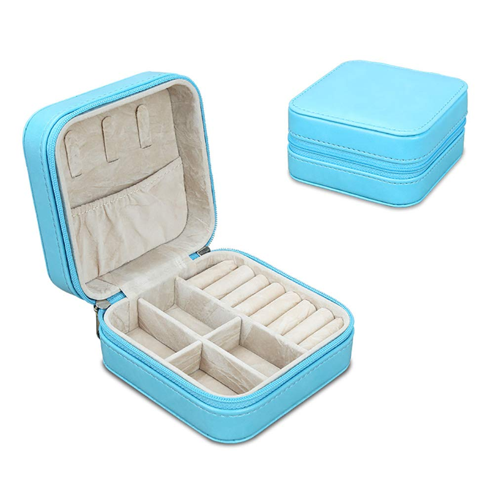 KINGFOM Small Faux Leather Travel Jewelry Box Organizer Display Storage Case Rings Earrings Necklace ZhongBang