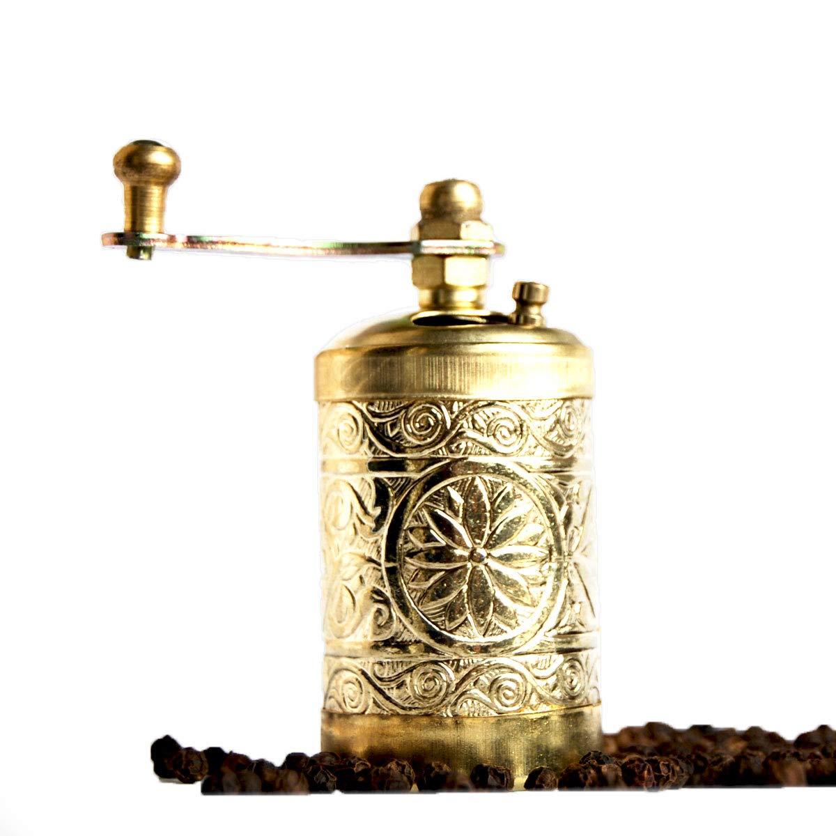 Bazaar Anatolia Turkish Grinder, Spice Grinder, Salt Grinder, Pepper Mill 3.0'' (Silver)