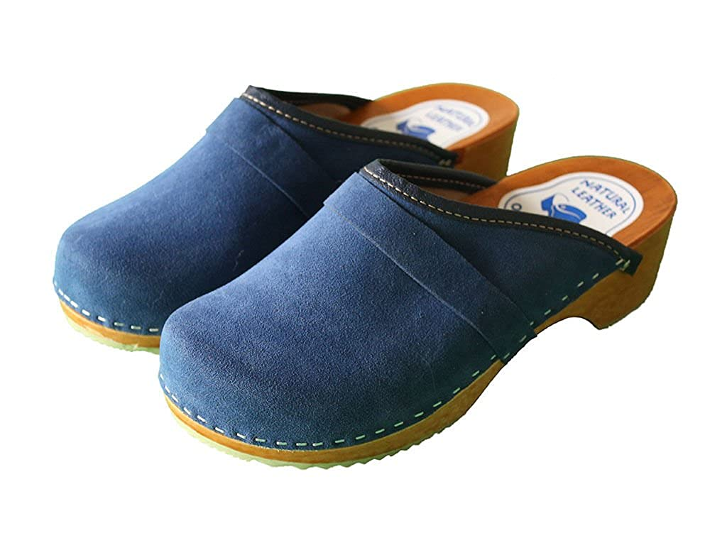 2e2676e1df2 Swedish Danish Velour Clogs Wooden Sole 100% Beach Leather Upper 3 4 ...