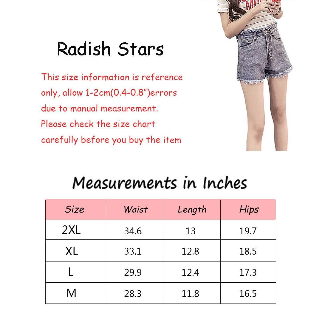 Radish Stars Summer Casual high Waist Skinny Fringed Jean Short