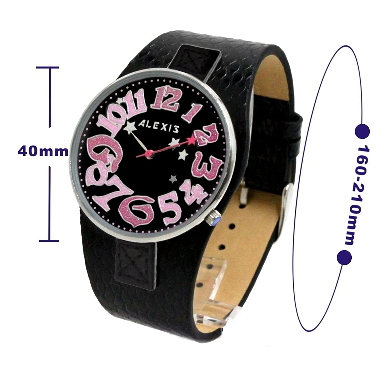 Amazon.com: Alexis Mujer Reloj Japón Seiko PC21 Movimiento Negro Correa Cuero Genuino Negro Marcar Impermeable 1000C: Watches