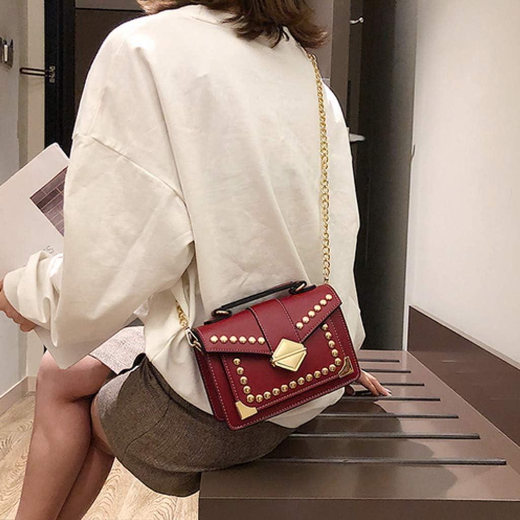 Womens Fashion Leather Chain Crossbody Bag Rivet Tote Handbag Satchel with Top Handle