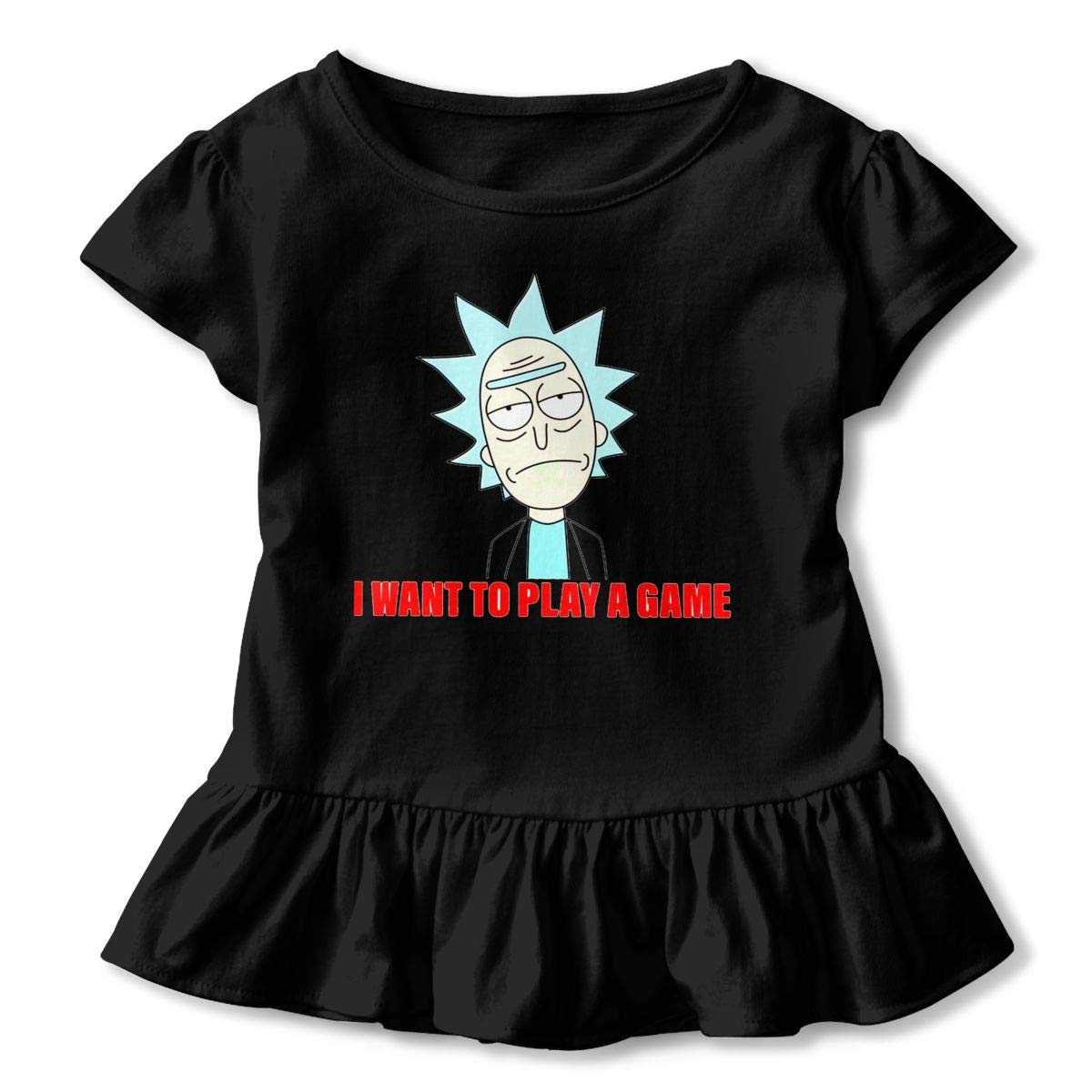 Rick-and-Morty-I-Want-to-Play-a-Game Toddler Little Girl Floral Ruffled Sleeve T-Shirt Tops