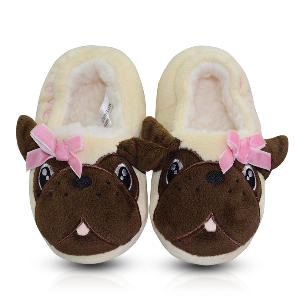 LA PLAGE Toddler Outside Plush Comfortable Soft Fleece House Slippers 8-9 US Creamy Pug