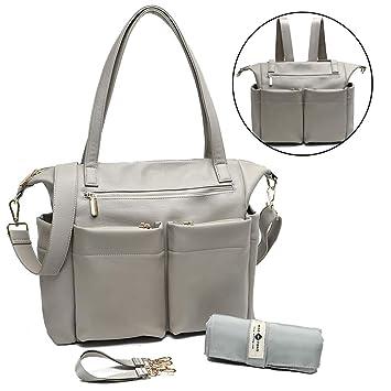 Amazon.com: Miss Fong Mochila de piel para pañales, bolsa de ...