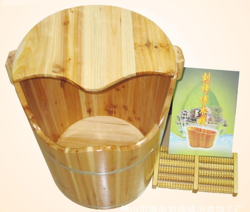 HINEW sapin bain de pieds chinois baril bois maison Spa avec un couvercle en bois bassin avec un rouleau de massage