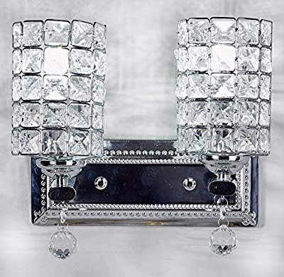 "Diamond Life 2-Light Chrome Finish Wall Sconce Lights Chandelier Wall Lamp with Crystal Shade W11""xH8"", #1059"