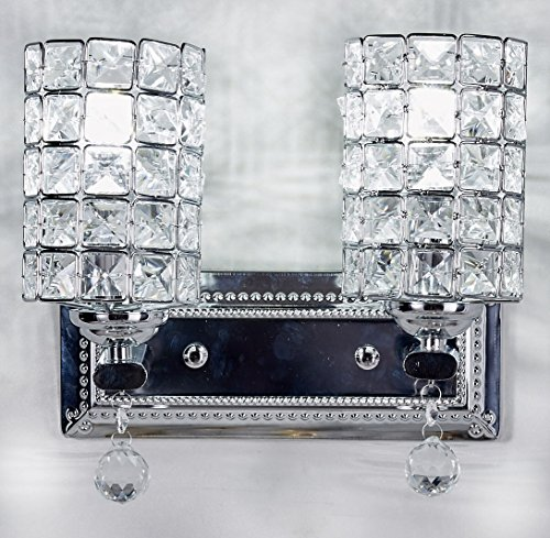 Diamond Life 2-Light Chrome Finish Wall Sconce Lights Chandelier Wall Lamp with Crystal Shade W11″xH8″, #1059
