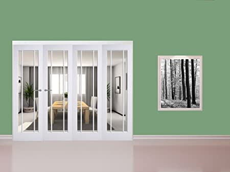 Green Tree Doors White Primed Langdale Clear Glass Internal Door Bifold System 2518mm (610mm ( & Green Tree Doors White Primed Langdale Clear Glass Internal Door ...