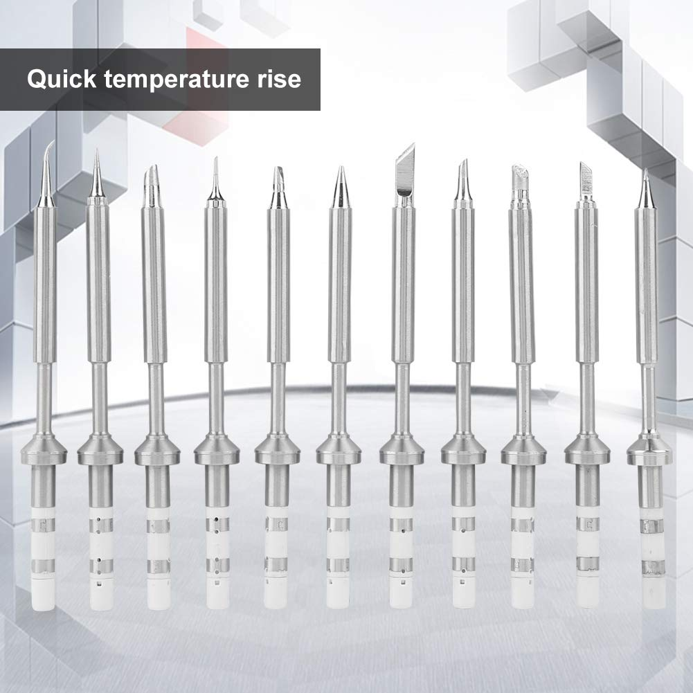 11pcs Puntas de soldador reemplazo de puntas de soldador de acero inoxidable antioxidante y anticorrosi/ón m/últiples tipos para elegir calentamiento r/ápido TS100