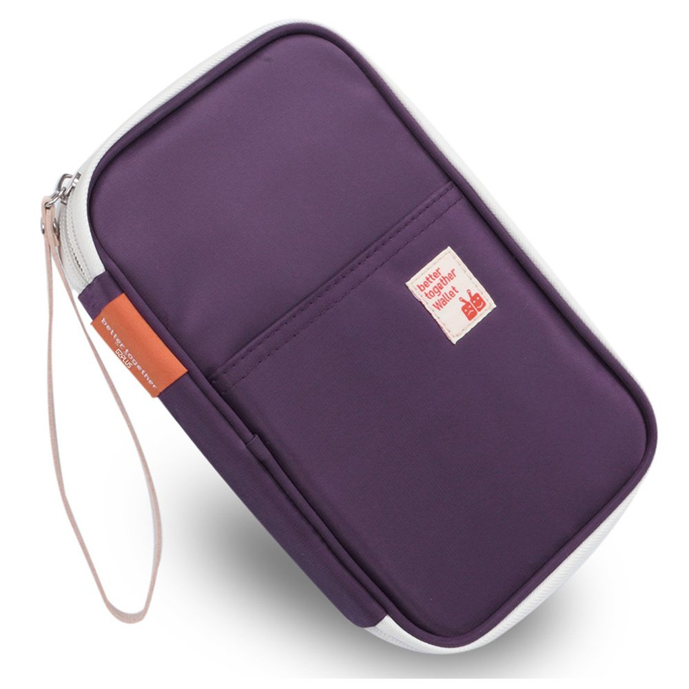 Passport Wallets Organizer Durable Waterproof Travel Wallet Purse with Hand Strap Zip Closure Document Organizer Passport Ticket Credit ID card Cash Holder Case (Model 1 Purple)