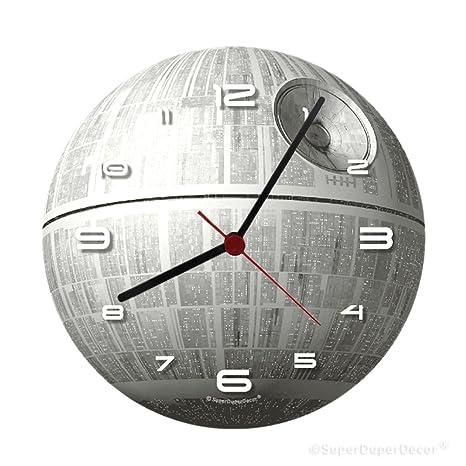 Reloj de pared de SuperDuperDecor, con diseño de la Estrella de la Muerte de la