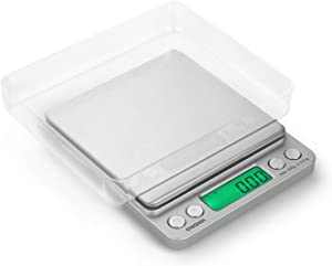 Truweigh ENIGMA Digital Mini Scale - (500g x 0.01g - Silver) and Long Lasting Portable Grams Scale - Kitchen Scale - Food Scale - Postal Scale - Herb Scale - Pocket Scale - Small Scale
