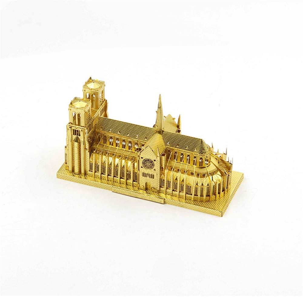 GOUZAIZI Puzzle 3D 3D Modello in Metallo Manuale DIY Notre Dame Building Puzzle assemblato per Adulti, 11,5×7cm, oro