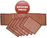 Set of 6 Placemats and Table Runner for Dining / Kitchen - Reversible Woven Straw Placemat [Red] - Tabletop Accessories