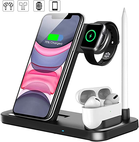 Wireless Charging Station Detachable and Magnetic Design 3 in 1 Qi Fast Wireless Charger Stand Compatible iPhone11//11 Pro Max//X//XS//XR//Xs Max//8//8 Plus Compatible iwatch 5//4//3//2//1 and Airpods