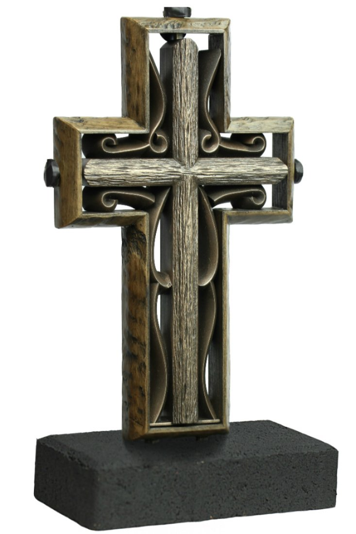 Unity Cross Rustic Collection Hand Scraped Rustic Beech with Vintage Bronze color center by The Unity Cross
