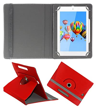 Acm Rotating Leather Flip Case Compatible with Digiflip Pro Et701 Tab Cover Stand Red Tablet Accessories