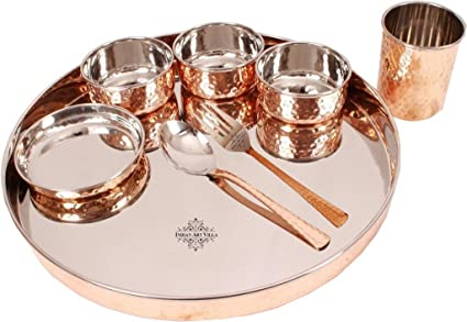 Indian Art Villa Hammered Steel Copper Thali Dinner Set Dinnerware Pack Of 8 Pieces  sc 1 st  Amazon.in & Buy Indian Art Villa Hammered Steel Copper Thali Dinner Set ...