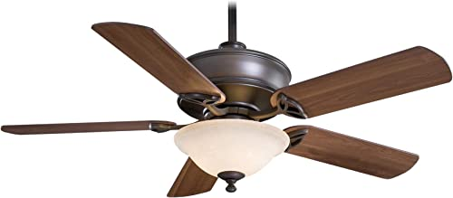 Minka Aire F620-ORB Bolo – 52 Ceiling Fan with Light Kit, Oil Rubbed Bronze Finish with Medium Maple Blade Finish with Excavation Glass