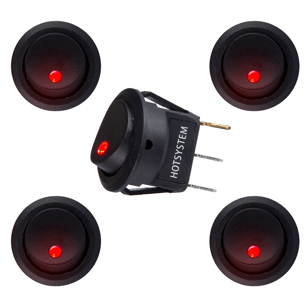 HOTSYSTEM 5 PC 12V 20A Car Auto Round Rocker ON/OFF Toggle SPST Switch with green Led Dot Light