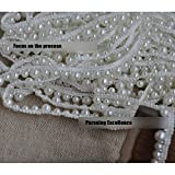 3 Yard White Pearl Beads Applique Pearl Fringe Trim for Home Deco, Lamp Shade, Costume