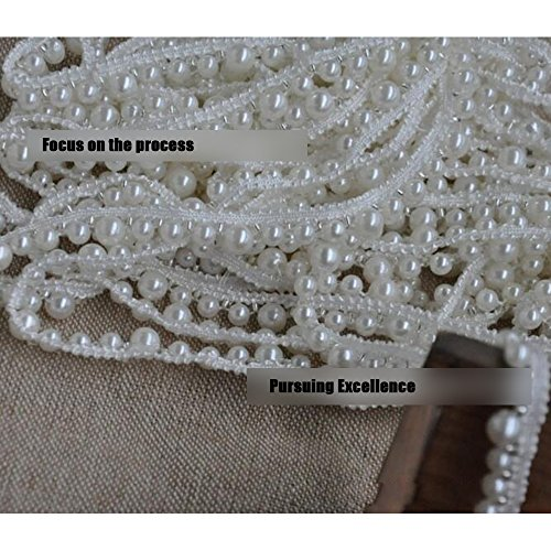 3 Yard White Pearl Beads Applique Pearl Fringe Trim for Home Deco, Lamp Shade, Costume ()