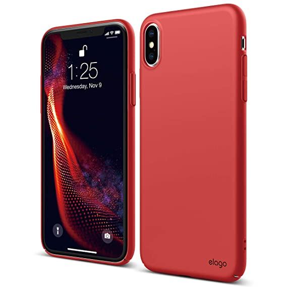 finest selection d2bb0 ea8af elago Slim Fit Series for iPhone Xs Max Case [Red] - [Matte Finish][Full  Covered][Camera Protection][Support Wireless Charging][Scratch & Minor Drop  ...