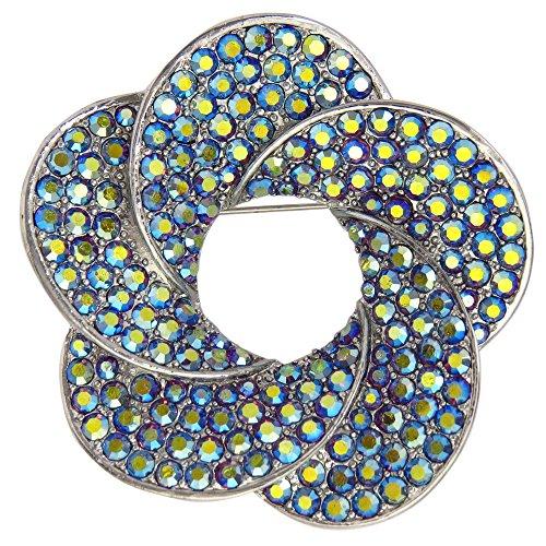 ooch Round Star Design with Light Topaz Crystals (Green) (Swarovski Crystal Star Brooch)