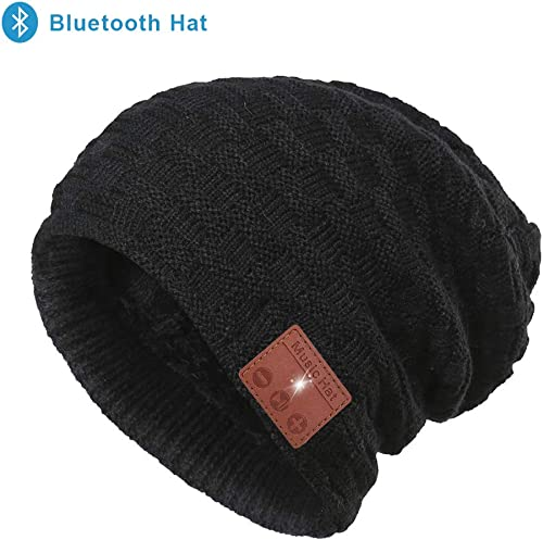 Bluetooth Beanie Hat, Upgraded Unisex Knit Wireless Bluetooth Music Beanie Headphones for Women Men, Built-in HD Stereo Speakers Microphone for Winter Fitness Outdoor Sports