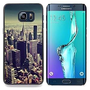 """For Samsung Galaxy S6 Edge Plus / S6 Edge+ G928 Case , Viñeta horizonte de la ciudad de Nueva York Azul"""" - Diseño Patrón Teléfono Caso Cubierta Case Bumper Duro Protección Case Cover Funda"""