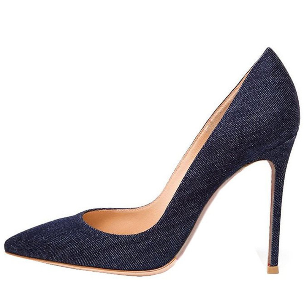 Jushee Damen Sexy Klassische Schwarz Stiletto High Heels Kleid Buuml;ro Pumps37 EU|Denim