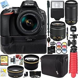 Nikon D5600 24.2 MP DX-Format DSLR Camera w/ AF-P 18-55mm VR & 70-300mm Lens Kit + 64GB Battery Grip Accessory Bundle