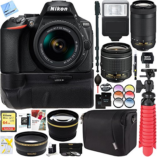 Nikon D5600 24.2 MP DX-Format DSLR Camera with AF-P 18-55mm VR & 70-300mm Lens Kit + 64GB Battery Grip Accessory Bundle by Beach Camera