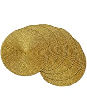 DII CAMZ32796 Round Braided & Woven, Indoor/Outdoor Placemat or Charger, Set of 6, Metallic Gold