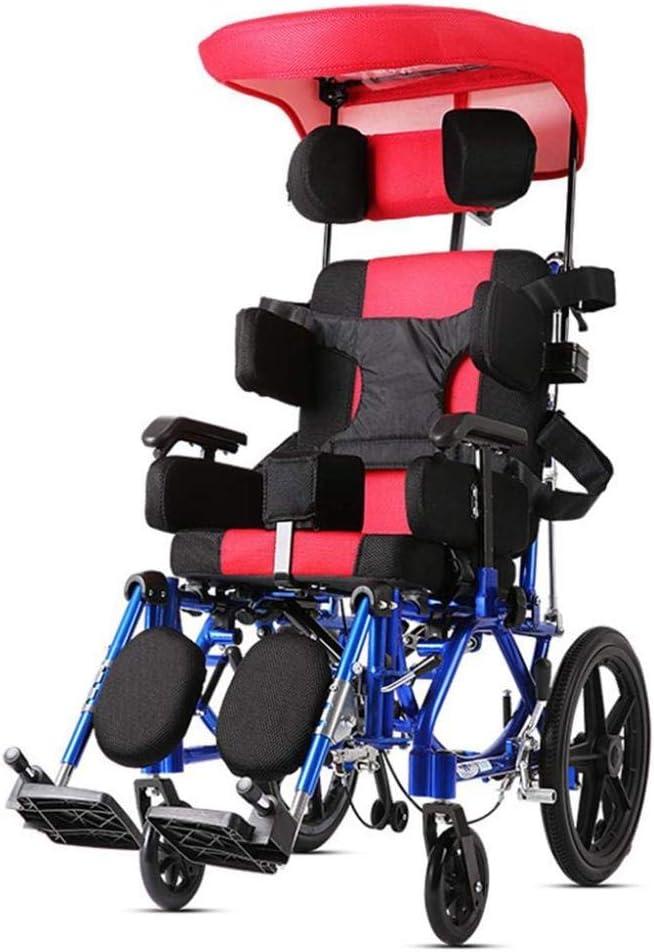 Ancianos Discapacitados Silla de Transporte Silla de Ruedas Ligera, Silla de Ruedas para Niños Bolsa de Almacenamiento Portátil, Silla de Ruedas Autopropulsada Plegable, Y-L
