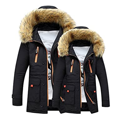 Unisex Matching Outdoor Fur Wool Fieece Coat Women Warm Winter Coat Men Long Hood Parka Coat