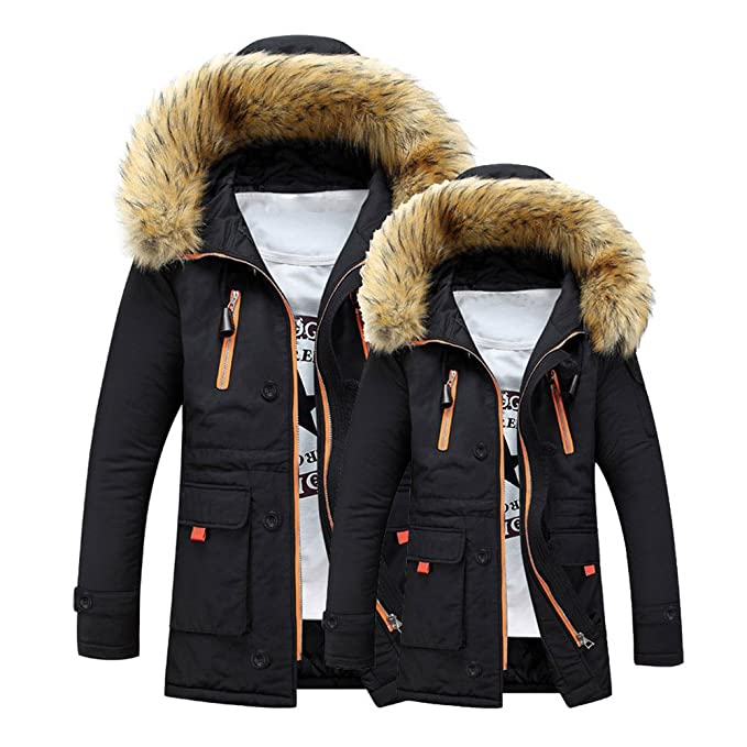 Mens Jacket Godathe Clearance Unisex Women Men Outdoor Fur Wool Fieece Warm Winter Long Hood Coat Jacket S-XXXL at Amazon Mens Clothing store: