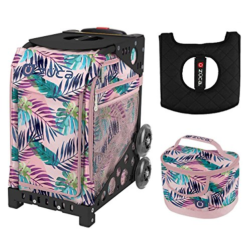 Zuca Sport Bag - Pink Oasis with Gift Lunchbox and Seat Cover (Black Frame) by ZUCA