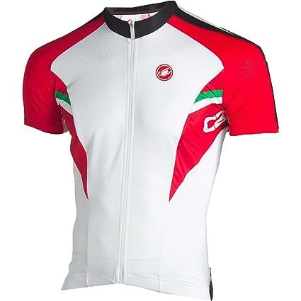 d75c9e6af Amazon.com   Castelli Prima Cycling Jersey - Men s White Black Red ...