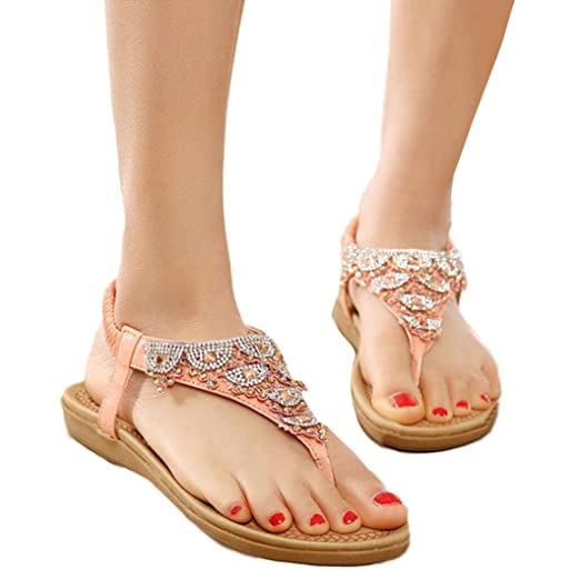 92be53da5f8e9e Challyhope Women s Summer Bohemian Sandals Flat Rhinestones Flip Flops  Gladiator Slipper Shoes (4.5
