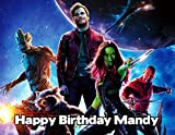 Guardians of the Galaxy Image Photo Cake Topper Sheet Personalized Custom Customized Birthday Party - 1/4 Sheet - 79858