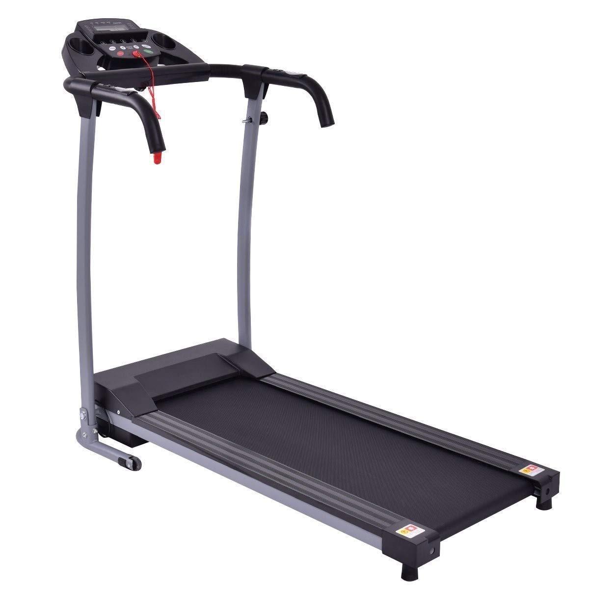 GYMAX Folding Exercise Treadmill Fitness Electric Treadmill Electric Motorized Power Fitness Running Machine 800W W/IPAD Mobile Phone Holder (Black)