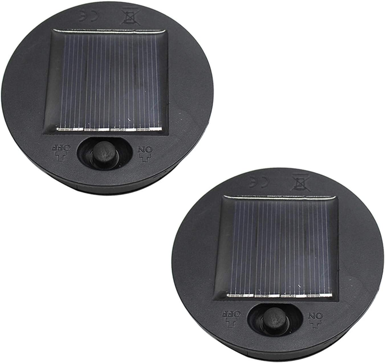 Solar Light Replacement Top Lids for Outdoor Hanging Lanterns, Solar Lamp Led Replacement Top Battery Box for Solar Lantern Garden Patio Walkway Yard (2 PCS,7CM-2.75 INCH)