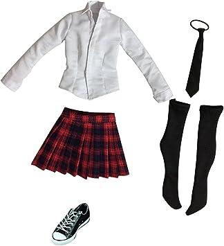 Amazon.es: non-brand Femenina Uniforme de Colegiala (Camisa de Manga Larga, Tela Escocesa Minifalda, Corbata, Medias y Zapatos de Lona) - + Negro Rojo: Juguetes y juegos