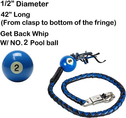Black And Orange Fringed Get Back Whip W// Pool Ball