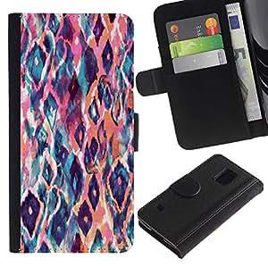 Billetera de Cuero Caso Titular de la tarjeta Carcasa Funda para Samsung Galaxy S5 V SM-G900 / animal pattern watercolor art peach / STRONG