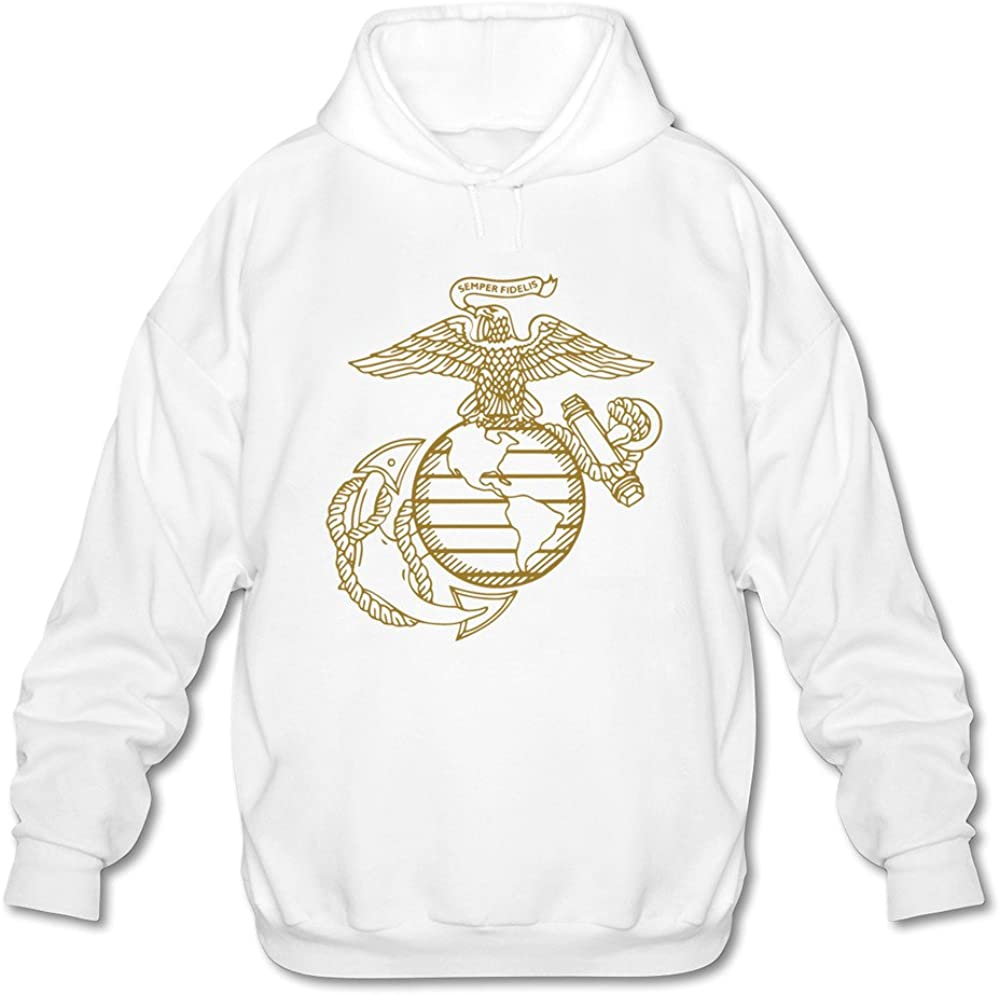 JIALE Mens United States Marine Corps Logo Lightweight Hoodie Black