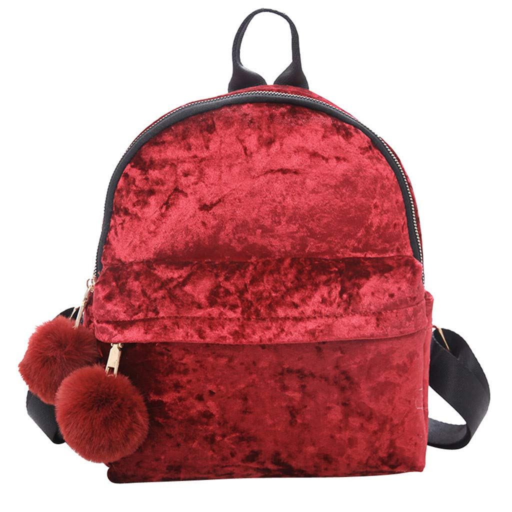 Newest Arrival!! ZOMUSAR Women Girls Fashion Velour Mini Backpack Shoulder Bag Solid Color School Travel Bags With Fur Ball (Red) by ZOMUSAR